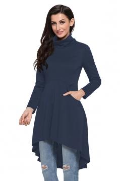 Womens Long Sleeve Pocket High Low Plain Long Sleeve Dress Navy Blue