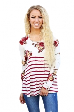 Womens Loose Floral Ruffle Long Sleeve Stripe Printed Blouse White