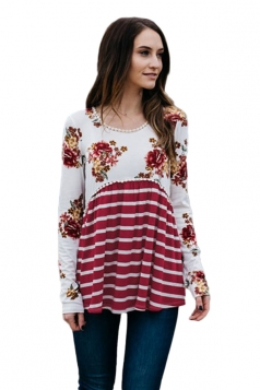 Womens Loose Floral Ruffle Long Sleeve Stripe Printed Blouse Ruby