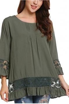 Womens Loose Lace Sheer Ruffle Hem Crew Neck Plain Blouse Army Green
