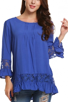 Womens Loose Lace Sheer Ruffle Hem Crew Neck Plain Blouse Blue