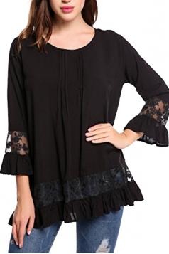 Womens Loose Lace Sheer Ruffle Hem Crew Neck Plain Blouse Black