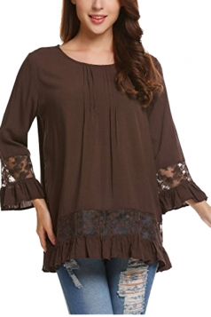 Womens Loose Lace Sheer Ruffle Hem Crew Neck Plain Blouse Coffee