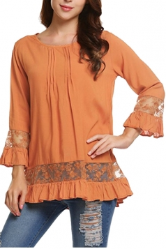 Womens Loose Lace Sheer Ruffle Hem Crew Neck Plain Blouse Orange