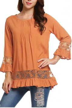 Womens Loose Lace Sheer Ruffle Hem Crew Neck Plain Blouse Orange