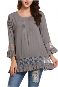 Womens Loose Lace Sheer Ruffle Hem Crew Neck Plain Blouse Gray
