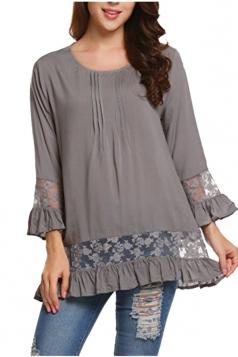 Womens Loose Lace Sheer Ruffle Hem Crew Neck Plain Blouse Gray