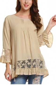 Womens Loose Lace Sheer Ruffle Hem Crew Neck Plain Blouse Khaki
