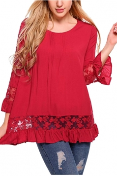 Womens Loose Lace Sheer Ruffle Hem Crew Neck Plain Blouse Red