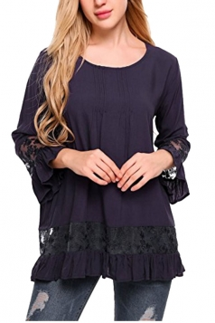 Womens Loose Lace Sheer Ruffle Hem Crew Neck Plain Blouse Navy Blue
