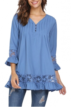Womens Oversized Lace Sheer Ruffle Hem V Neck Plain Blouse Blue