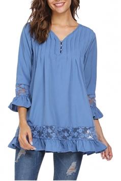 Womens Oversized Lace Sheer Ruffle Hem V Neck Plain Blouse Blue