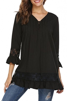 Womens Oversized Lace Sheer Ruffle Hem V Neck Plain Blouse Black