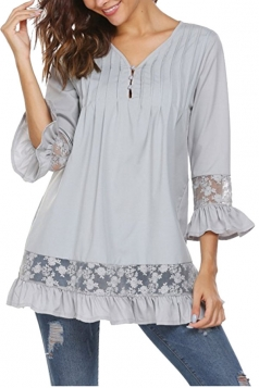 Womens Oversized Lace Sheer Ruffle Hem V Neck Plain Blouse Gray