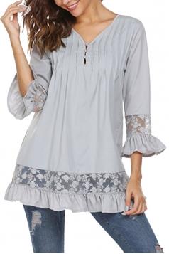 Womens Oversized Lace Sheer Ruffle Hem V Neck Plain Blouse Gray