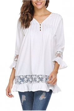 Womens Oversized Lace Sheer Ruffle Hem V Neck Plain Blouse White