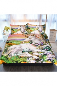 Comfortable Unicorn Printed Colourful Three Piece Full Size Bed Sets