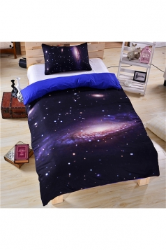 King Size Cosy Pleasing Soft Three Piece Galaxy Bed Set Black