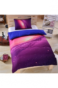 Twin Size Concise Style Colourful Three Piece Galaxy Bed Set Purple