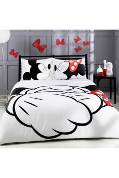 Concise Style Mickey Mouse Printed Three Piece King Bedding Sets White