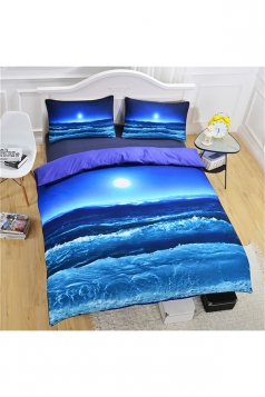 Colourful Stylish Colorfast Three Piece Ocean Full Size Bed Sets Blue
