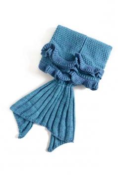 Homelike Soft Ruffle Hem Plain Crochet Kid Mermaid Tail Blanket Blue
