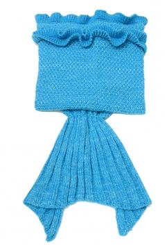 Homelike Soft Ruffle Hem Crochet Kid Mermaid Tail Blanket Light Blue