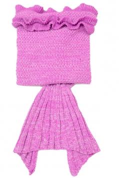 Homelike Ruffle Hem Plain Crochet Kid Mermaid Tail Blanket Rose Red