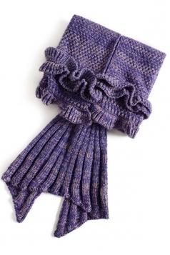 Homelike Soft Ruffle Hem Plain Crochet Kid Mermaid Tail Blanket Purple