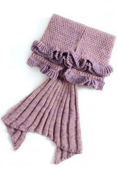 Homelike Soft Ruffle Hem Plain Crochet Kid Mermaid Tail Blanket Pink