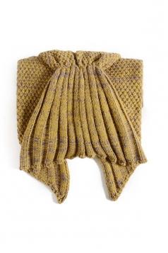 Homelike Soft Ruffle Hem Plain Crochet Kid Mermaid Tail Blanket Yellow
