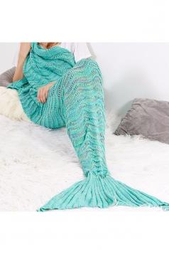 Homelike Soft Knit Colorful Crochet Mermaid Tail Blanket Green