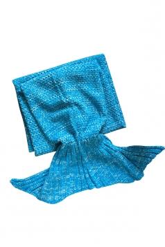 Homey Soft Knit Plain Crochet Baby Mermaid Tail Blanket Blue
