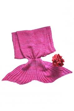 Homey Soft Knit Plain Crochet Baby Mermaid Tail Blanket Dark Red