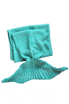 Homey Soft Knit Plain Crochet Baby Mermaid Tail Blanket Green