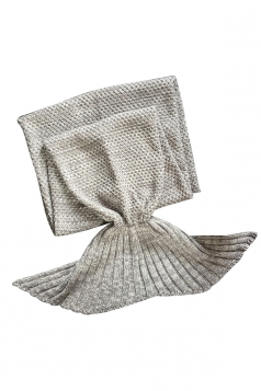 Homey Soft Knit Plain Crochet Baby Mermaid Tail Blanket Gray