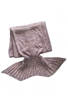 Homey Soft Knit Plain Crochet Baby Mermaid Tail Blanket Khaki