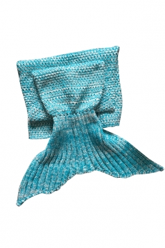 Homey Soft Knit Plain Crochet Baby Mermaid Tail Blanket Light Blue