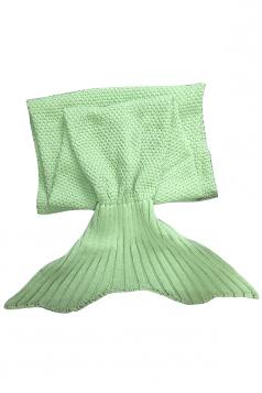 Homey Soft Knit Plain Crochet Baby Mermaid Tail Blanket Light Green