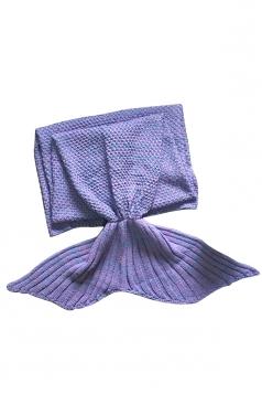 Homey Soft Knit Plain Crochet Baby Mermaid Tail Blanket Light Purple