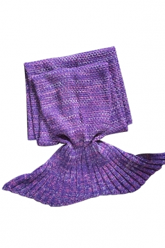 Homey Soft Knit Plain Crochet Baby Mermaid Tail Blanket Purple
