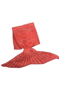 Homey Soft Knit Plain Crochet Baby Mermaid Tail Blanket Watermelon Red