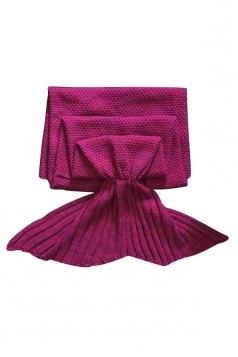 Homey Soft Knit Plain Crochet Baby Mermaid Tail Blanket Ruby