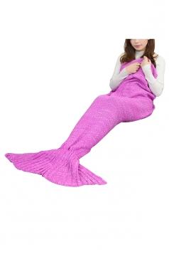 Stylish Knit Warm Plain Crochet Mermaid Tail Blanket Rose Red