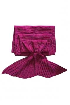 Stylish Knit Warm Plain Crochet Mermaid Tail Blanket Ruby
