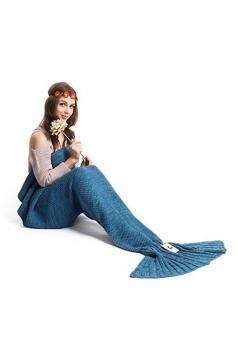 Stylish Knit Warm Plain Crochet Mermaid Tail Blanket Navy Blue