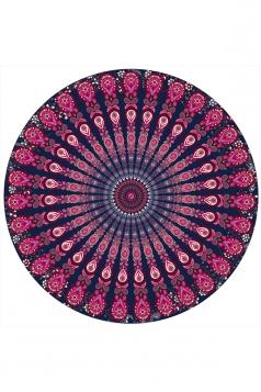 Peacock Yoga Mat Throw Tapestry Beach Towel Blanket Rose Red 59x59in