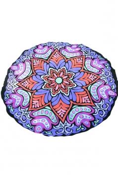Vintage Yoga Mat Chiffon Snowflake Beach Towel Blanket Purple 59x59in