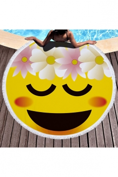 Round With Fringe Shy Face Emoji Beach Towel Blanket Yellow 59x59in