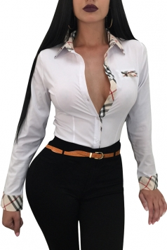 Womens Trendy Turndown Collar Plaid Long Sleeve Button Blouse White